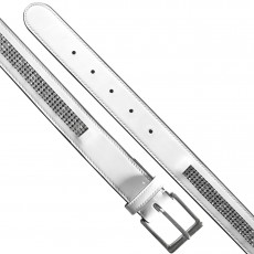 Mark Todd Diamante Patent Leather Belt (White)