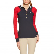 Ariat Women's Marquis LS Polo (Navy/Red)