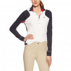 Ariat Women's Marquis LS Polo (White/Navy)
