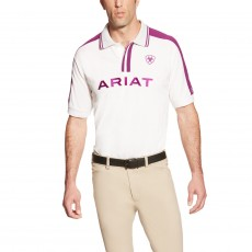 Ariat Men's FEI World Cup Team Polo (White/Purple)