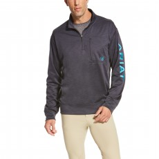 Ariat Men's Team Logo Quarter Zip (Ebony)