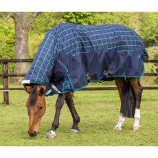 Mark Todd Heavyweight Combo Turnout Rug Plaid (Navy/Jade/Beige)