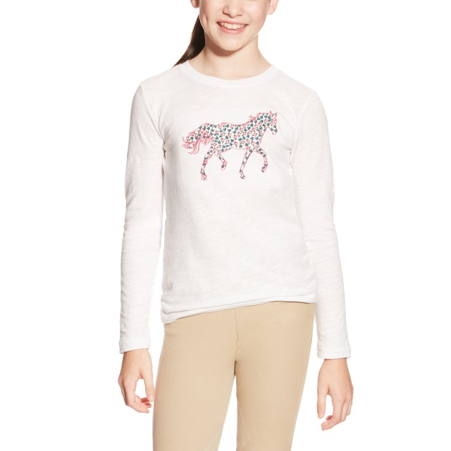 Ariat Kids' Embroidered Pony Top (White)