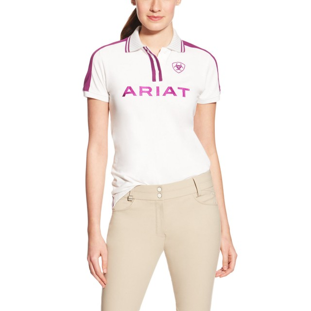 Ariat Women's FEI World Cup Team Polo (White/Purple)