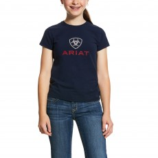 Ariat Girl's HD Logo Short Sleeve T-Shirt (Navy)