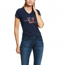 Ariat Women's Puff Print Logo T-Shirt (Navy)
