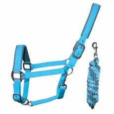 Woof Wear Head Collar and Lead Rope Colour Fusion (Turquoise)