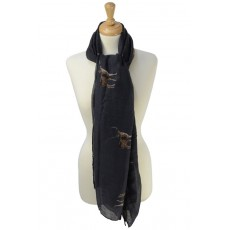 Stag Print Scarf (Charcoal)