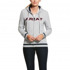 Ariat Women's Logo Full Zip Hoody (Heather Grey/Team)