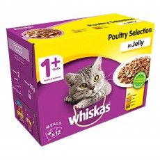Whiskas 1+ Cat Pouches (Poultry Selection In Jelly) 12 x 100g