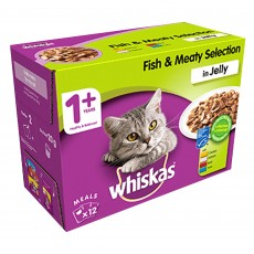 Whiskas 1+ Cat Pouches (Fish & Meaty Selection In Jelly) 12 x 100g