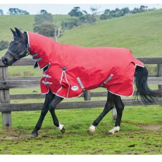 Weatherbeeta Comfitec - Classic Turnout Rug - Combo Neck - Lightweight (Red/Silver/Navy)