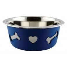 Weatherbeeta Non-Slip Stainless Steel Silicone Bone Dog Bowl (Blue)