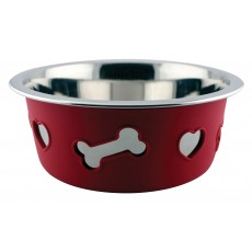 Weatherbeeta Non-Slip Stainless Steel Silicone Bone Dog Bowl (Raspberry)