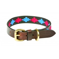 Weatherbeeta Polo Leather Dog Collar (Beaufort Brown/Pink/Blue)