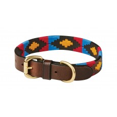 Weatherbeeta Polo Leather Dog Collar (Cowdray Brown/Pink/Blue/Yellow)