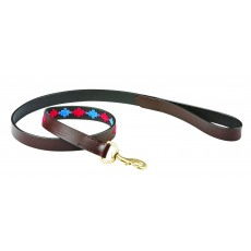 Weatherbeeta Polo Leather Dog Lead (Beaufort Brown/Pink/Blue)