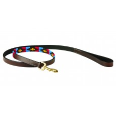 Weatherbeeta Polo Leather Dog Lead (Cowdray Brown/Pink/Blue/Yellow)