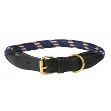 Weatherbeeta Rope Leather Dog Collar (Navy/Brown)