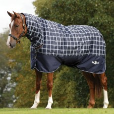 Saxon Defiant 600D Turnout Rug - Combo Neck - Mediumweight (Navy Plaid)