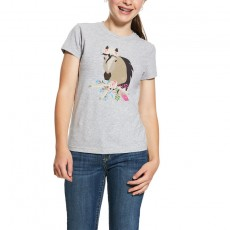 Ariat Girl's Bohemian Horse T-Shirt (Heather Grey)