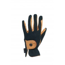 Dublin Adults Crochet Riding Gloves (Natural/Navy)