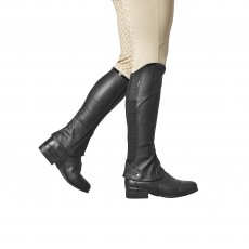 Dublin Child's Stretch Fit Half Chaps (Black/Patent Piping)