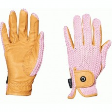 Dublin Adults Crochet Riding Gloves (Natural/Pink)