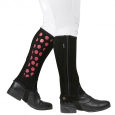 Dublin Childs Easy-Care Spot Print Half Chap (Black/Pink)