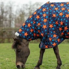 Mark Todd Medium Weight Pony Neck Cover (Navy/Orange Stars)