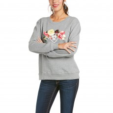 Ariat Women's R.E.A.L Carnation Sweatshirt (Heather Grey)