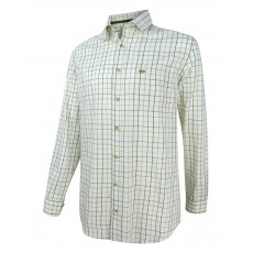 Hoggs of Fife Men's Balmoral Luxury Tattersall Shirt (Green/Brown)