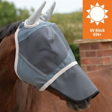 Weatherbeeta Deluxe Fly Mask With Nose (Grey)