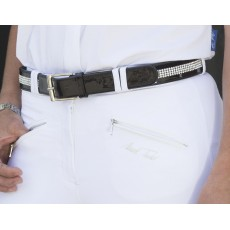 Mark Todd Diamante Patent Leather Belt (Black)