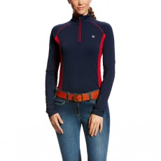 Ariat Women's Tri Factor Quarter Zip Top (White/Navy)