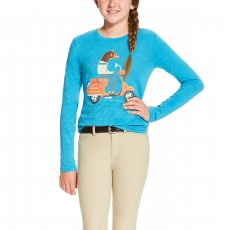 Ariat (Sample) Girl's Scootin Tee (Barrier Blue)