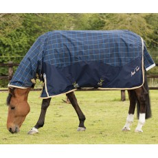 Mark Todd Lightweight Combo Turnout Rug Plaid (Navy, Beige & Royal)