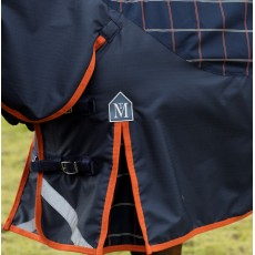 Mark Todd Mediumweight Turnout Rug Plaid (Navy, Orange & Beige) - No Neck