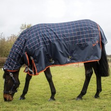 Mark Todd Mediumweight Combo Turnout Rug Plaid (Navy, Orange & Beige)