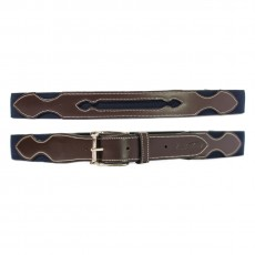 Mark Todd Elasticated Leather Belt (Navy & Brown)