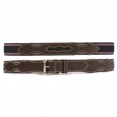 Mark Todd Elasticated Leather Belt (Navy & Pink Stitch)