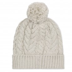 Musto Women's Chunky Cable Knit Bobble Hat (Antique Sail White)