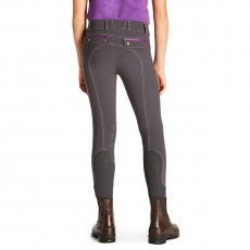 Ariat Kid's FEI Olympia Acclaim Knee Patch Breeches (Grey/FEI Purple)