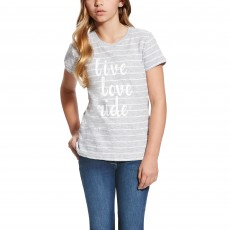 Ariat (Sample) Girl's Live Love Ride Tee (Heather Grey Stripe)