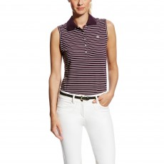 Ariat Women's Prix Sleeveless Polo (Plum Perfect Stripe)