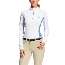 Ariat Women's Tri Factor Quarter Zip Top (White/Blue Saga)