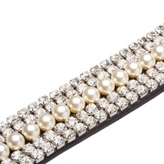 Caldene Curved 5-Row Diamante & Pearl Browband (Havana)