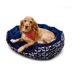 Whitaker Stanbury Reversible Dog Bed (Navy/White Print)
