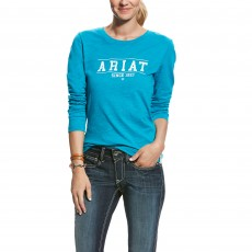 Ariat Women's Logo Long Sleeved T-Shirt (Atomic Blue)