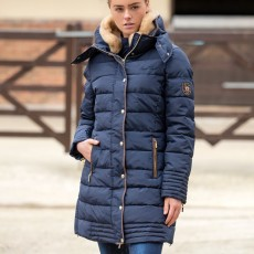 Mark Todd Women's Deluxe Long Padded Coat (Navy)